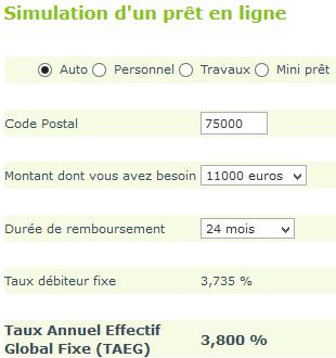 simulation gmf crédit voiture