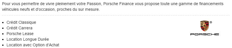 crédit auto porsche financement